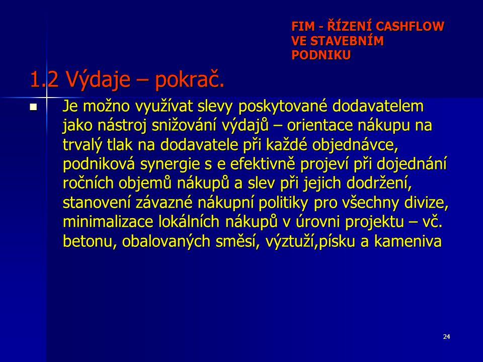 24 FIM - ŘÍZENÍ CASHFLOW VE STAVEBNÍM PODNIKU 1.2 Výdaje – pokrač.
