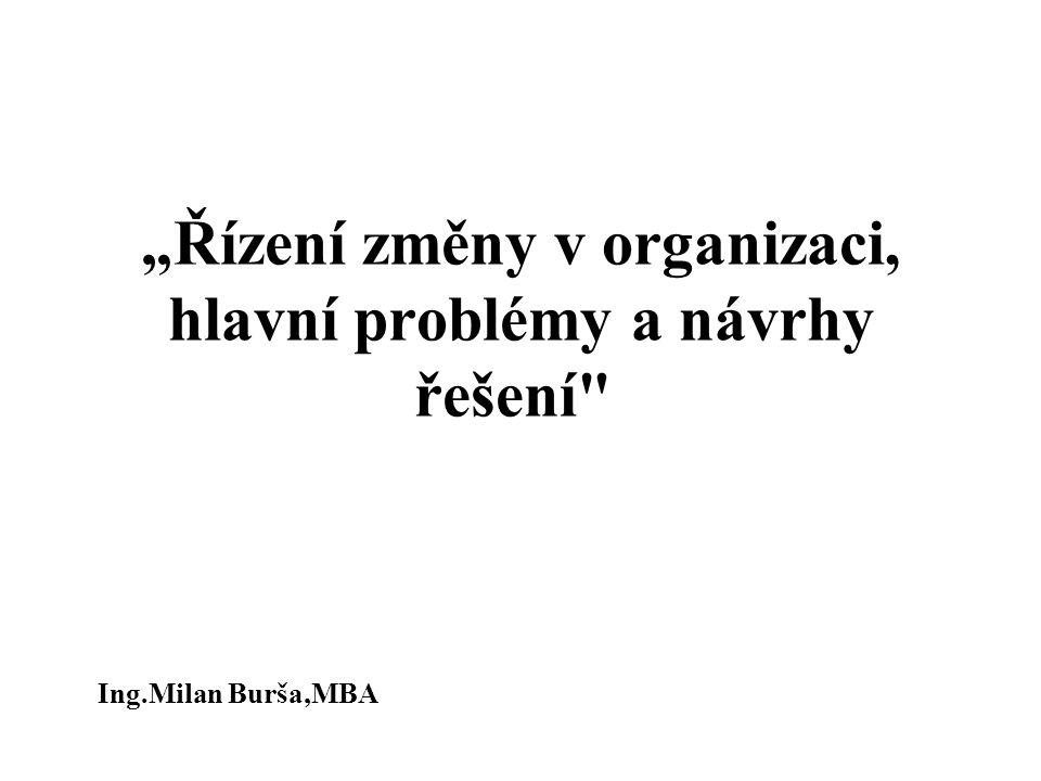 """""""Řízení změny v organizaci, hlavní problémy a návrhy řešení"""