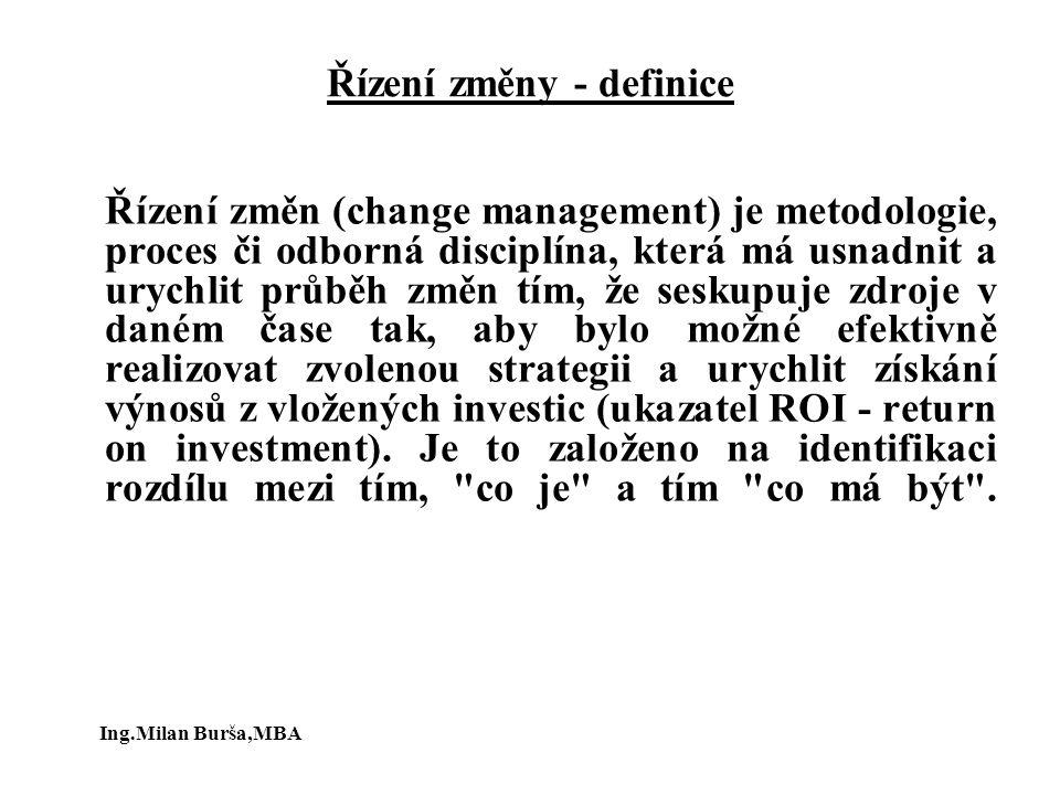 Řízení změny - definice Řízení změn (change management) je metodologie, proces či odborná disciplína, která má usnadnit a urychlit průběh změn tím, že