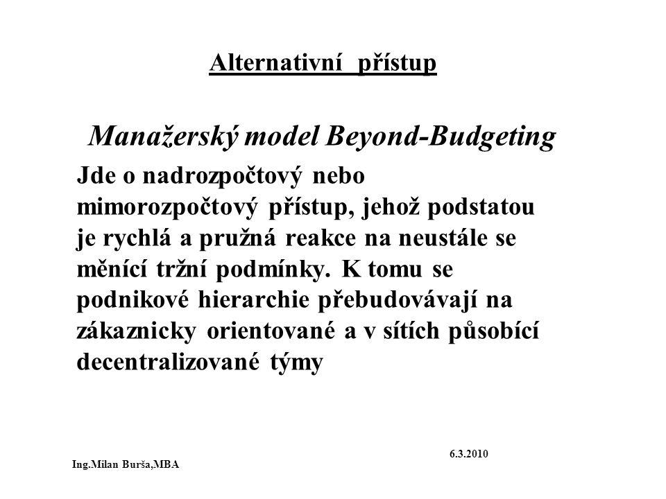 Alternativní přístup Manažerský model Beyond-Budgeting Jde o nadrozpočtový nebo mimorozpočtový přístup, jehož podstatou je rychlá a pružná reakce na n