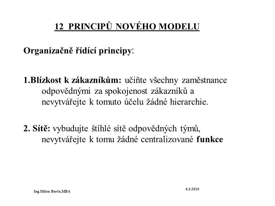 12 PRINCIPŮ NOVÉHO MODELU Organizačně řídící principy : 1.Blízkost k zákazníkům: učiňte všechny zaměstnance odpovědnými za spokojenost zákazníků a nev