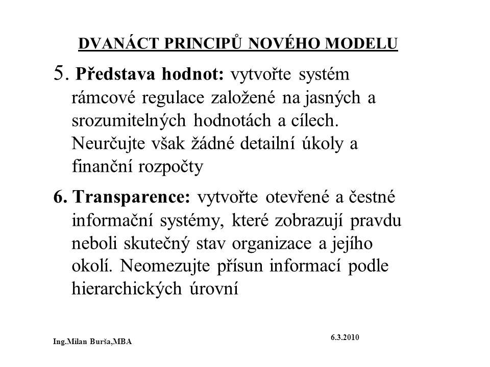 DVANÁCT PRINCIPŮ NOVÉHO MODELU 5. Představa hodnot: vytvořte systém rámcové regulace založené na jasných a srozumitelných hodnotách a cílech. Neurčujt