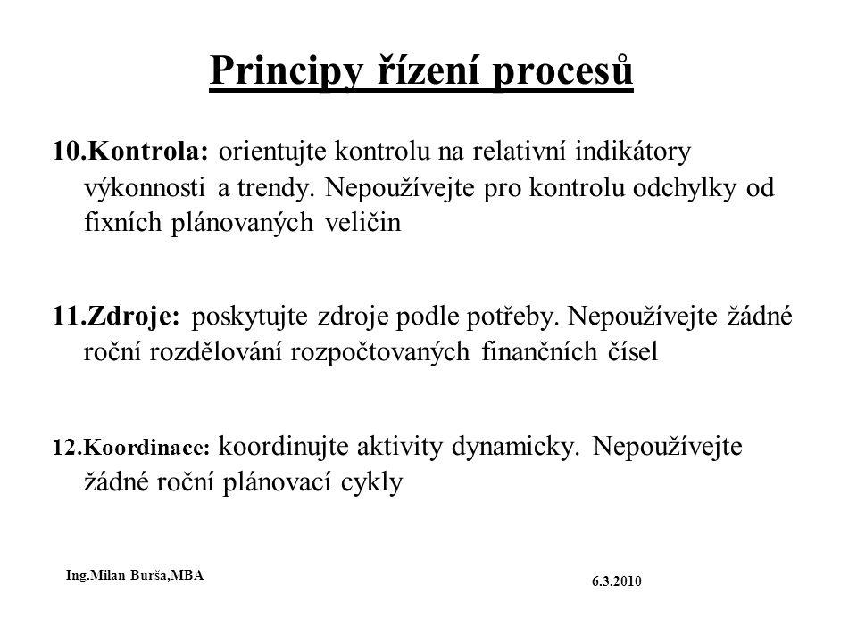Principy řízení procesů 10.Kontrola: orientujte kontrolu na relativní indikátory výkonnosti a trendy. Nepoužívejte pro kontrolu odchylky od fixních pl