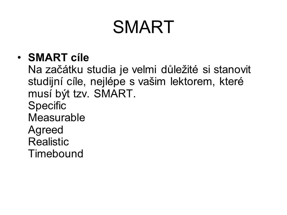SMART SMART cíle Na začátku studia je velmi důležité si stanovit studijní cíle, nejlépe s vašim lektorem, které musí být tzv. SMART. Specific Measurab
