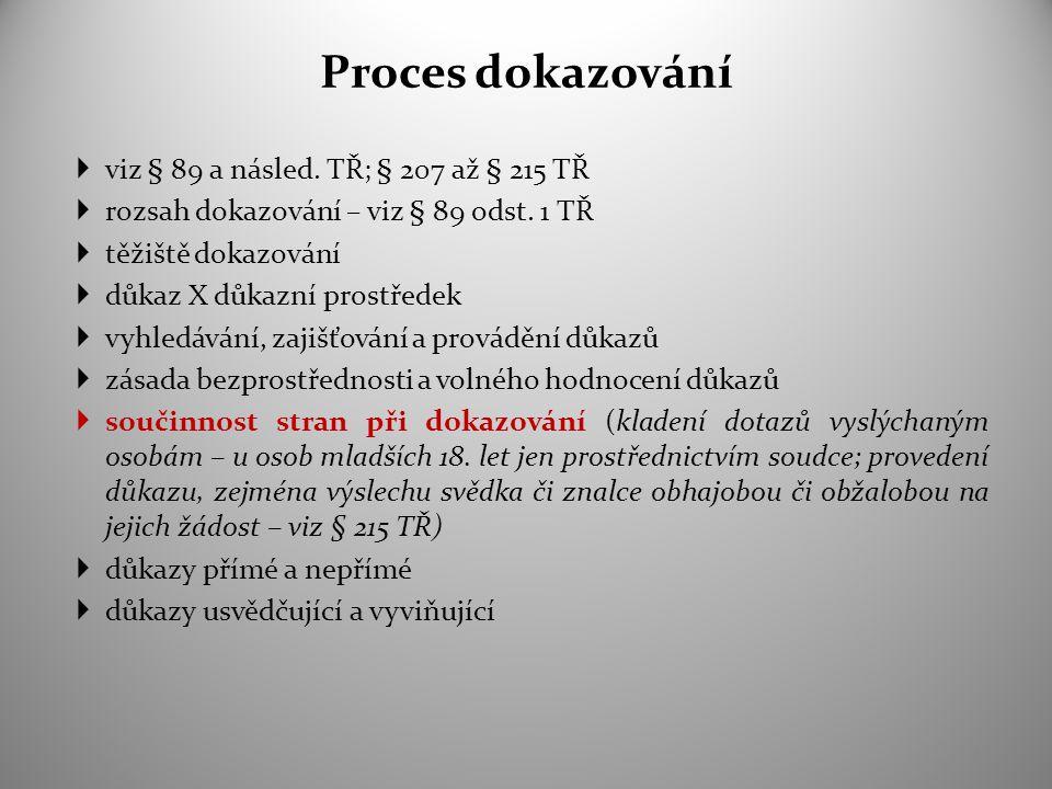 Proces dokazování  viz § 89 a násled. TŘ; § 207 až § 215 TŘ  rozsah dokazování – viz § 89 odst. 1 TŘ  těžiště dokazování  důkaz X důkazní prostřed