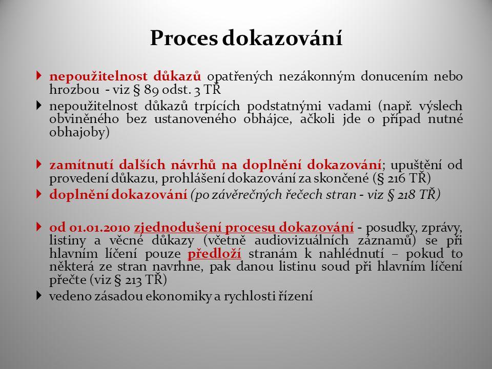 Proces dokazování  nepoužitelnost důkazů opatřených nezákonným donucením nebo hrozbou - viz § 89 odst. 3 TŘ  nepoužitelnost důkazů trpících podstatn