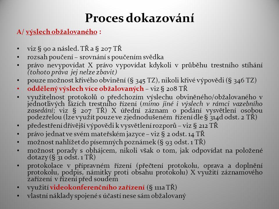 Proces dokazování A/ výslech obžalovaného : viz § 90 a násled. TŘ a § 207 TŘ rozsah poučení – srovnání s poučením svědka právo nevypovídat X právo vyp