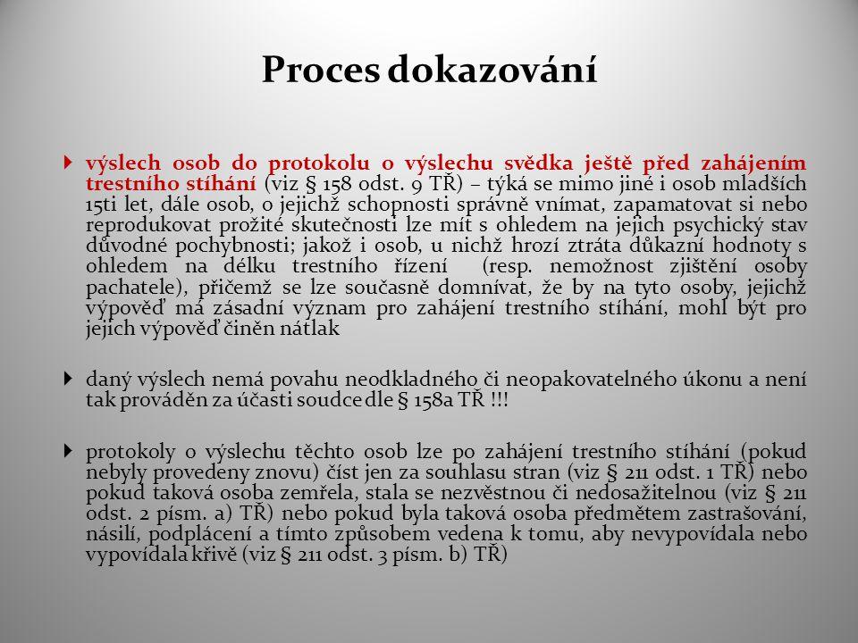 Proces dokazování  výslech osob do protokolu o výslechu svědka ještě před zahájením trestního stíhání (viz § 158 odst. 9 TŘ) – týká se mimo jiné i os