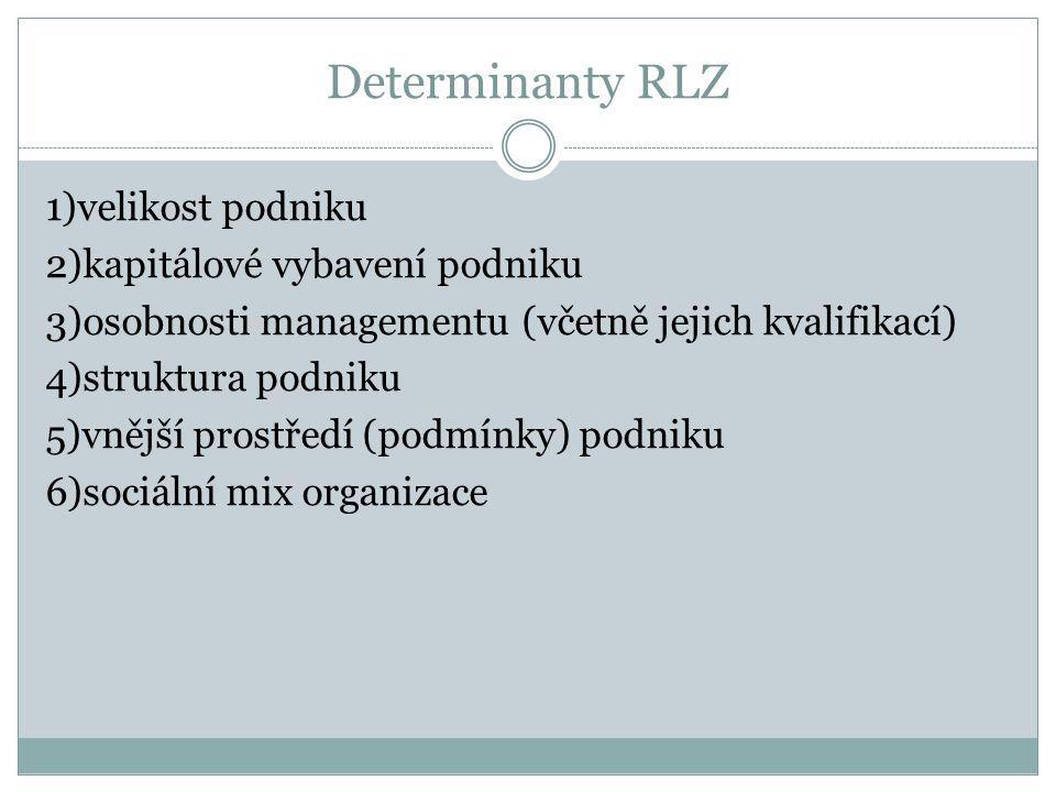 Determinanty RLZ 1)velikost podniku 2)kapitálové vybavení podniku 3)osobnosti managementu (včetně jejich kvalifikací) 4)struktura podniku 5)vnější prostředí (podmínky) podniku 6)sociální mix organizace