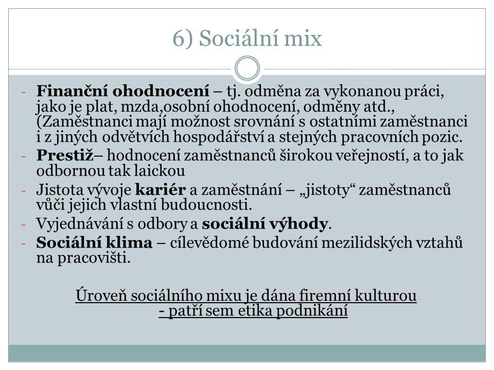 6) Sociální mix - Finanční ohodnocení – tj.
