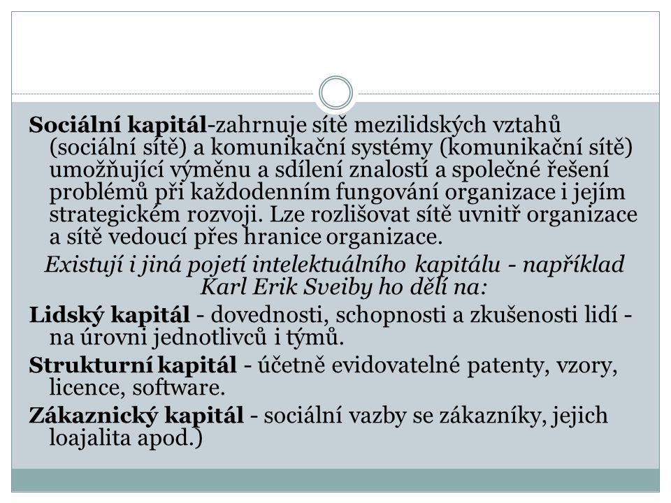 Sociální kapitál -zahrnuje sítě mezilidských vztahů (sociální sítě) a komunikační systémy (komunikační sítě) umožňující výměnu a sdílení znalostí a sp