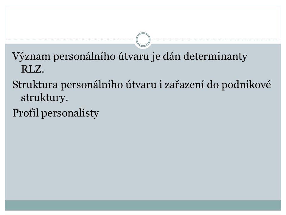Význam personálního útvaru je dán determinanty RLZ. Struktura personálního útvaru i zařazení do podnikové struktury. Profil personalisty