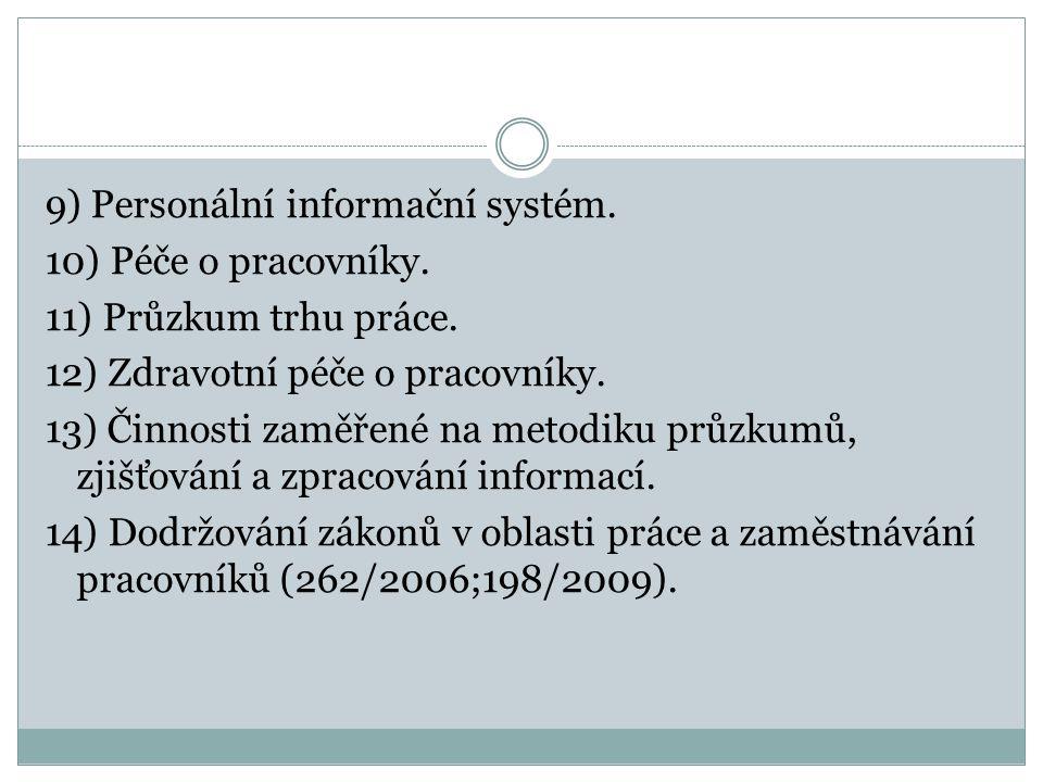 9) Personální informační systém. 10) Péče o pracovníky. 11) Průzkum trhu práce. 12) Zdravotní péče o pracovníky. 13) Činnosti zaměřené na metodiku prů