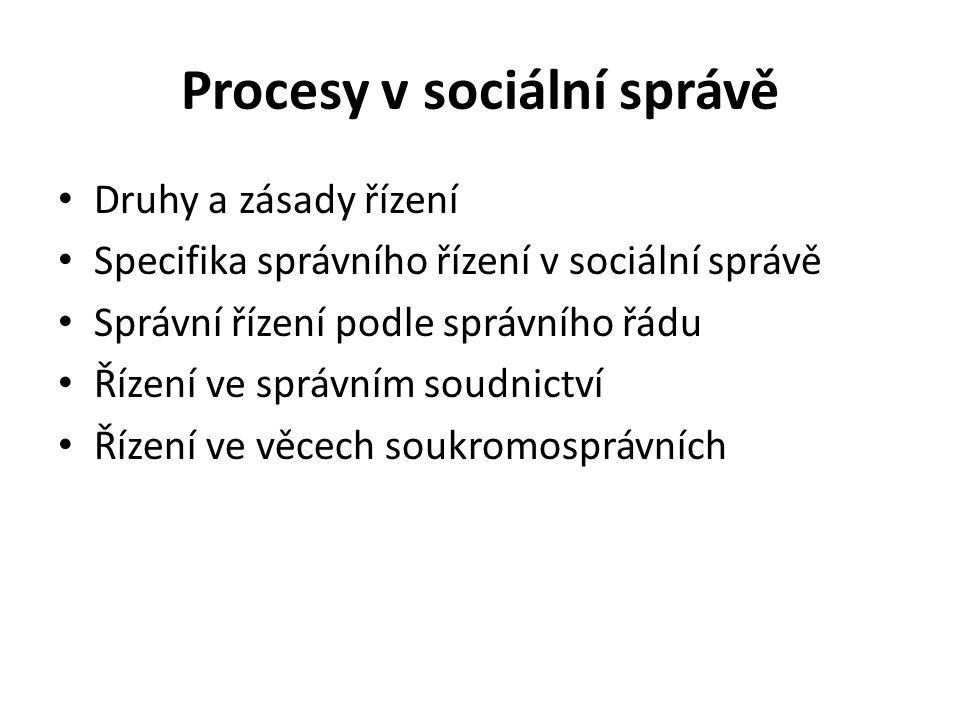 Druhy a zásady řízení Specifika správního řízení v sociální správě Správní řízení podle správního řádu Řízení ve správním soudnictví Řízení ve věcech soukromosprávních