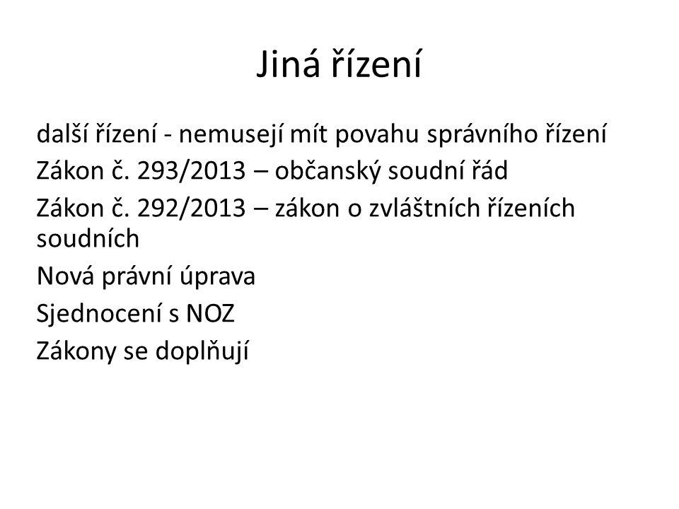 Jiná řízení další řízení - nemusejí mít povahu správního řízení Zákon č.