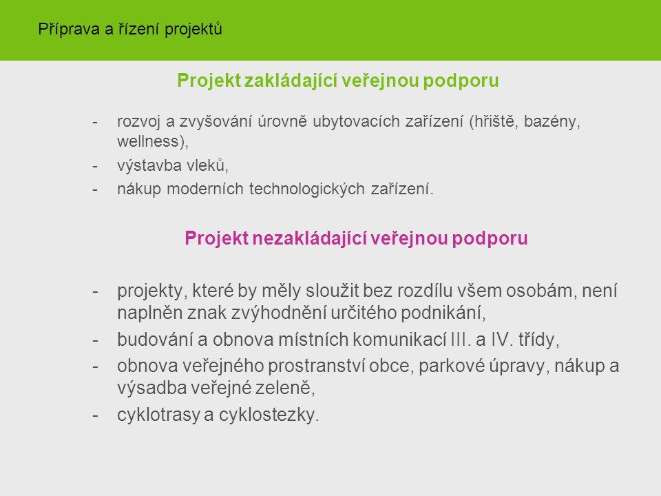 Projekt zakládající veřejnou podporu -rozvoj a zvyšování úrovně ubytovacích zařízení (hřiště, bazény, wellness), -výstavba vleků, -nákup moderních technologických zařízení.