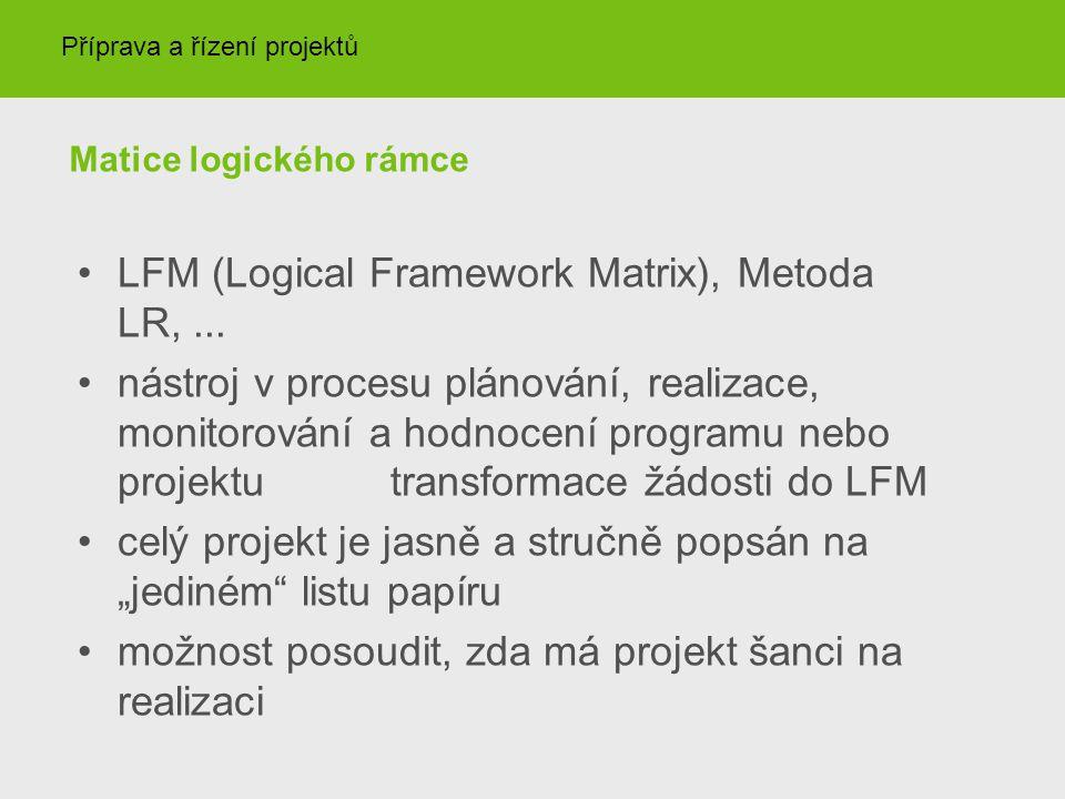 Matice logického rámce LFM (Logical Framework Matrix), Metoda LR,... nástroj v procesu plánování, realizace, monitorování a hodnocení programu nebo pr