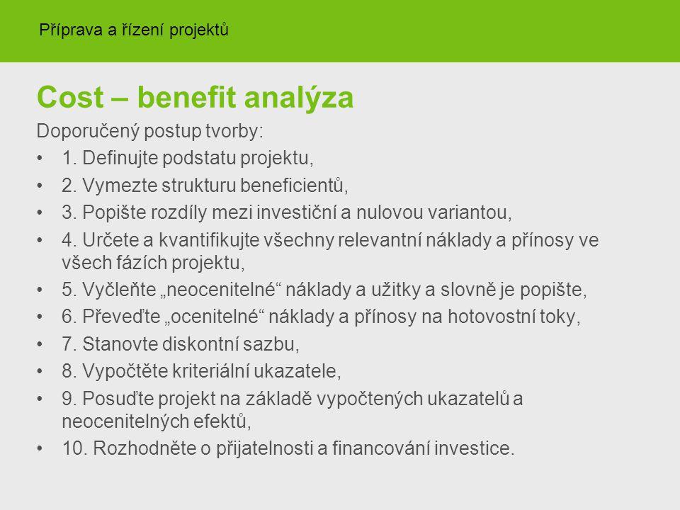 Cost – benefit analýza Doporučený postup tvorby: 1. Definujte podstatu projektu, 2. Vymezte strukturu beneficientů, 3. Popište rozdíly mezi investiční