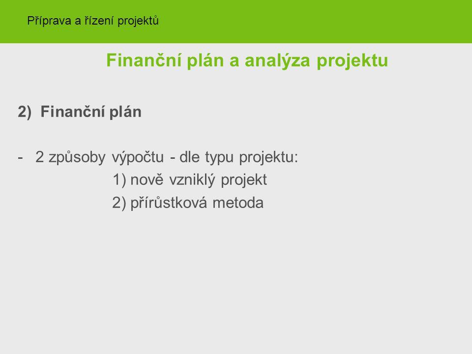 Finanční plán a analýza projektu 2) Finanční plán -2 způsoby výpočtu - dle typu projektu: 1) nově vzniklý projekt 2) přírůstková metoda Příprava a řízení projektů