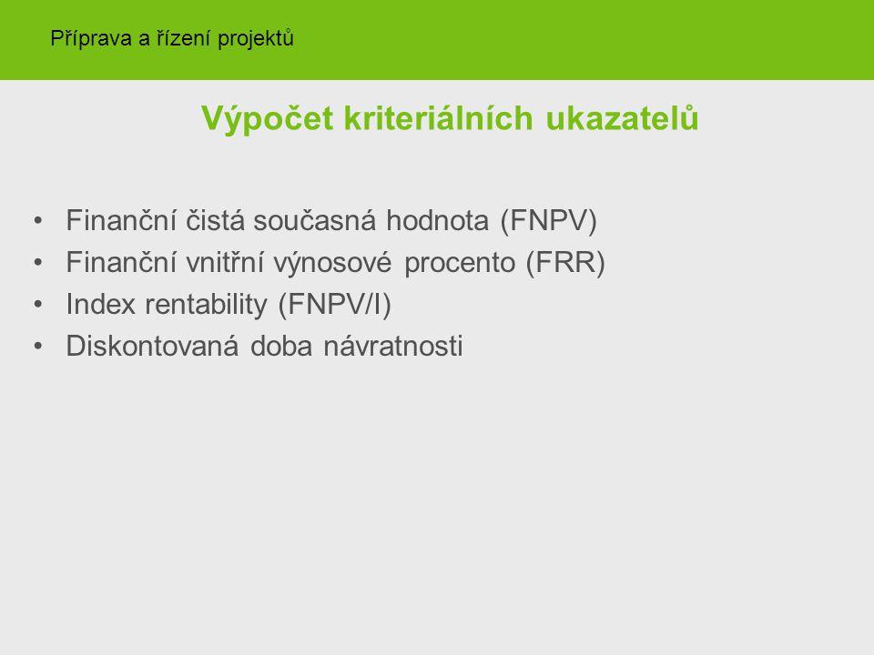 Výpočet kriteriálních ukazatelů Finanční čistá současná hodnota (FNPV) Finanční vnitřní výnosové procento (FRR) Index rentability (FNPV/I) Diskontovan