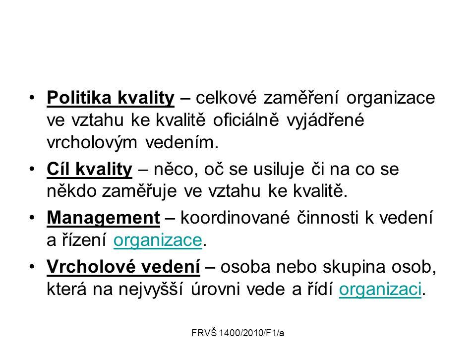 FRVŠ 1400/2010/F1/a Politika kvality – celkové zaměření organizace ve vztahu ke kvalitě oficiálně vyjádřené vrcholovým vedením. Cíl kvality – něco, oč