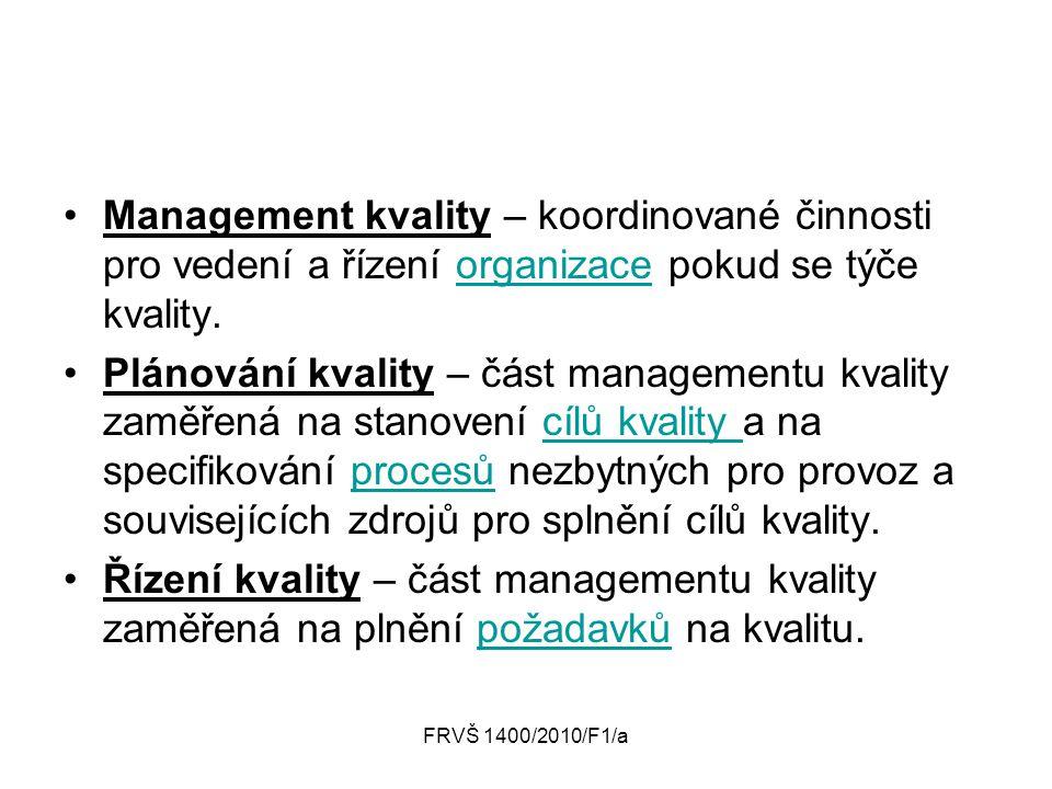 FRVŠ 1400/2010/F1/a Management kvality – koordinované činnosti pro vedení a řízení organizace pokud se týče kvality.organizace Plánování kvality – čás