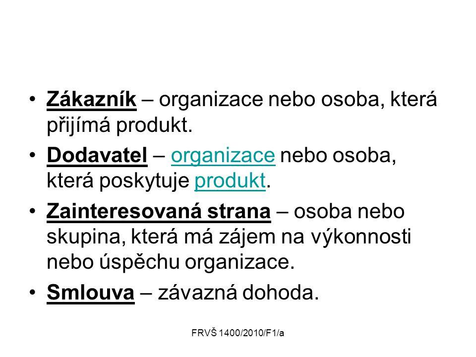 FRVŠ 1400/2010/F1/a Zákazník – organizace nebo osoba, která přijímá produkt. Dodavatel – organizace nebo osoba, která poskytuje produkt.organizaceprod