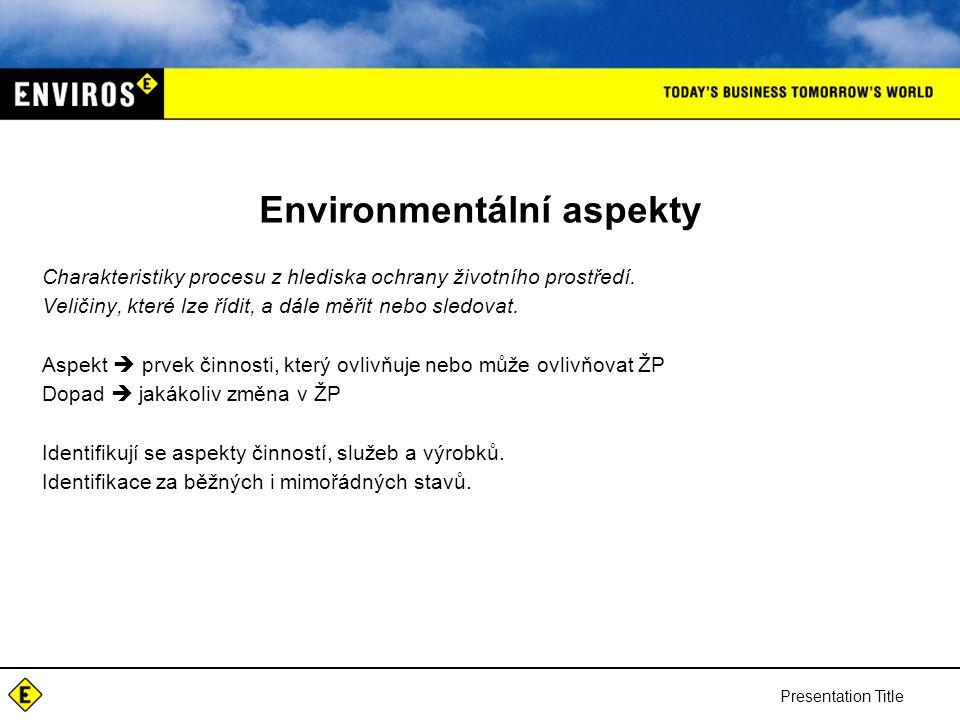 Presentation Title Environmentální aspekty Charakteristiky procesu z hlediska ochrany životního prostředí.