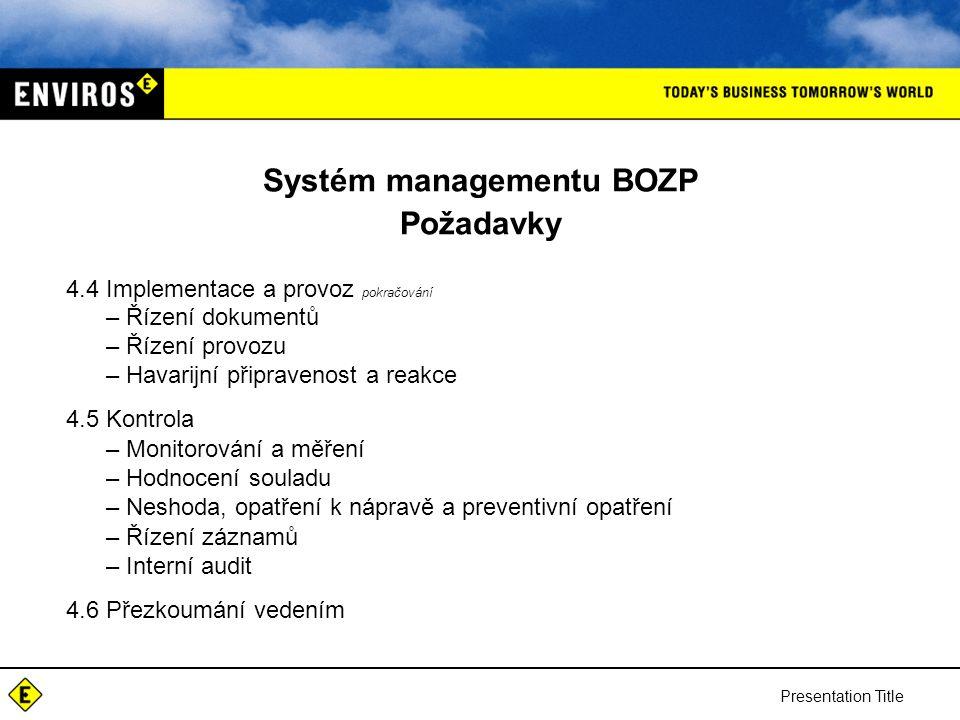 Presentation Title Systém managementu BOZP Požadavky 4.4 Implementace a provoz pokračování –Řízení dokumentů –Řízení provozu –Havarijní připravenost a reakce 4.5 Kontrola –Monitorování a měření –Hodnocení souladu –Neshoda, opatření k nápravě a preventivní opatření –Řízení záznamů –Interní audit 4.6 Přezkoumání vedením