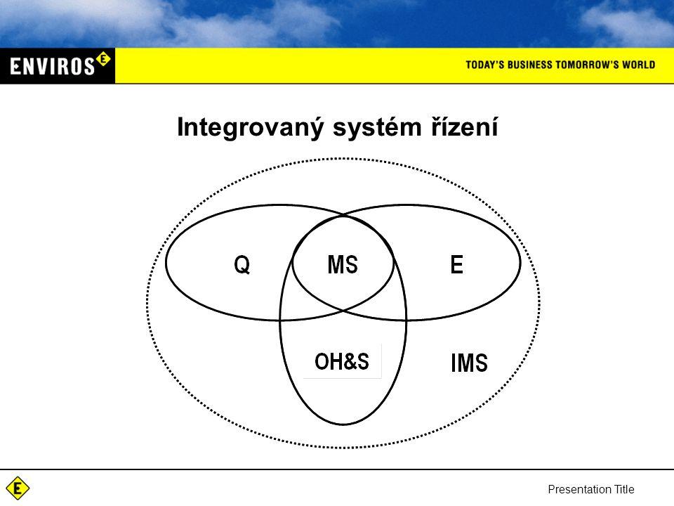 Presentation Title Integrovaný systém řízení