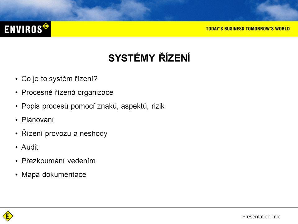 Presentation Title SYSTÉMY ŘÍZENÍ Co je to systém řízení.