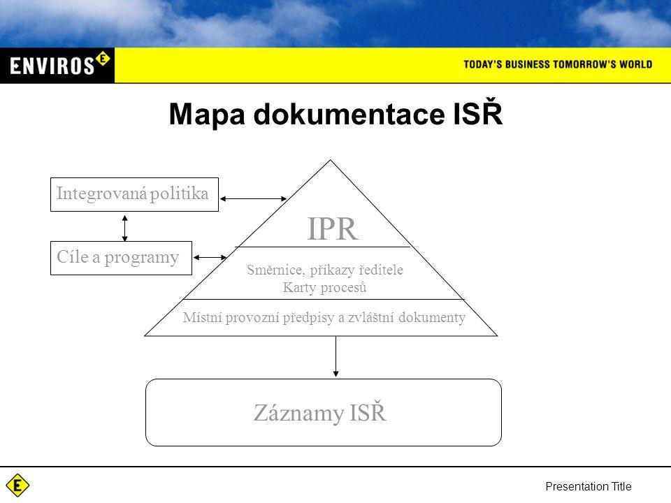 Presentation Title Mapa dokumentace ISŘ Integrovaná politika Cíle a programy IPR Směrnice, příkazy ředitele Karty procesů Místní provozní předpisy a zvláštní dokumenty Záznamy ISŘ