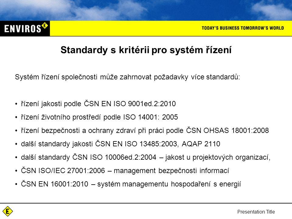 Presentation Title Standardy s kritérii pro systém řízení Systém řízení společnosti může zahrnovat požadavky více standardů: řízení jakosti podle ČSN EN ISO 9001ed.2:2010 řízení životního prostředí podle ISO 14001: 2005 řízení bezpečnosti a ochrany zdraví při práci podle ČSN OHSAS 18001:2008 další standardy jakosti ČSN EN ISO 13485:2003, AQAP 2110 další standardy ČSN ISO 10006ed.2:2004 – jakost u projektových organizací, ČSN ISO/IEC 27001:2006 – management bezpečnosti informací ČSN EN 16001:2010 – systém managementu hospodaření s energií