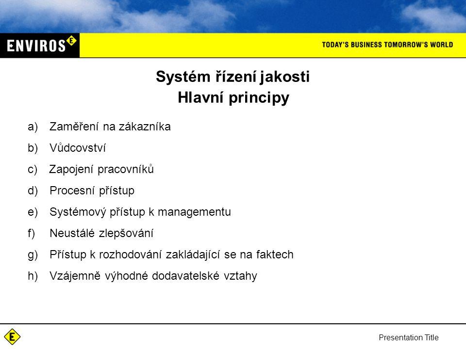 Presentation Title Systém řízení jakosti Hlavní principy a) Zaměření na zákazníka b) Vůdcovství c) Zapojení pracovníků d) Procesní přístup e) Systémový přístup k managementu f) Neustálé zlepšování g) Přístup k rozhodování zakládající se na faktech h) Vzájemně výhodné dodavatelské vztahy