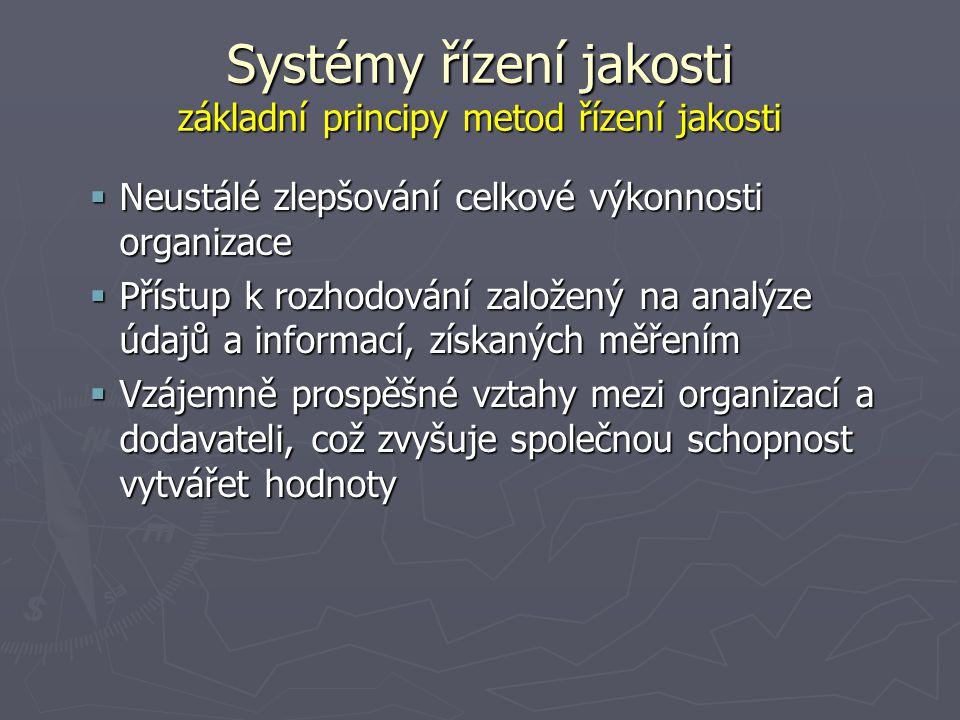 Systémy řízení jakosti základní principy metod řízení jakosti  Neustálé zlepšování celkové výkonnosti organizace  Přístup k rozhodování založený na analýze údajů a informací, získaných měřením  Vzájemně prospěšné vztahy mezi organizací a dodavateli, což zvyšuje společnou schopnost vytvářet hodnoty