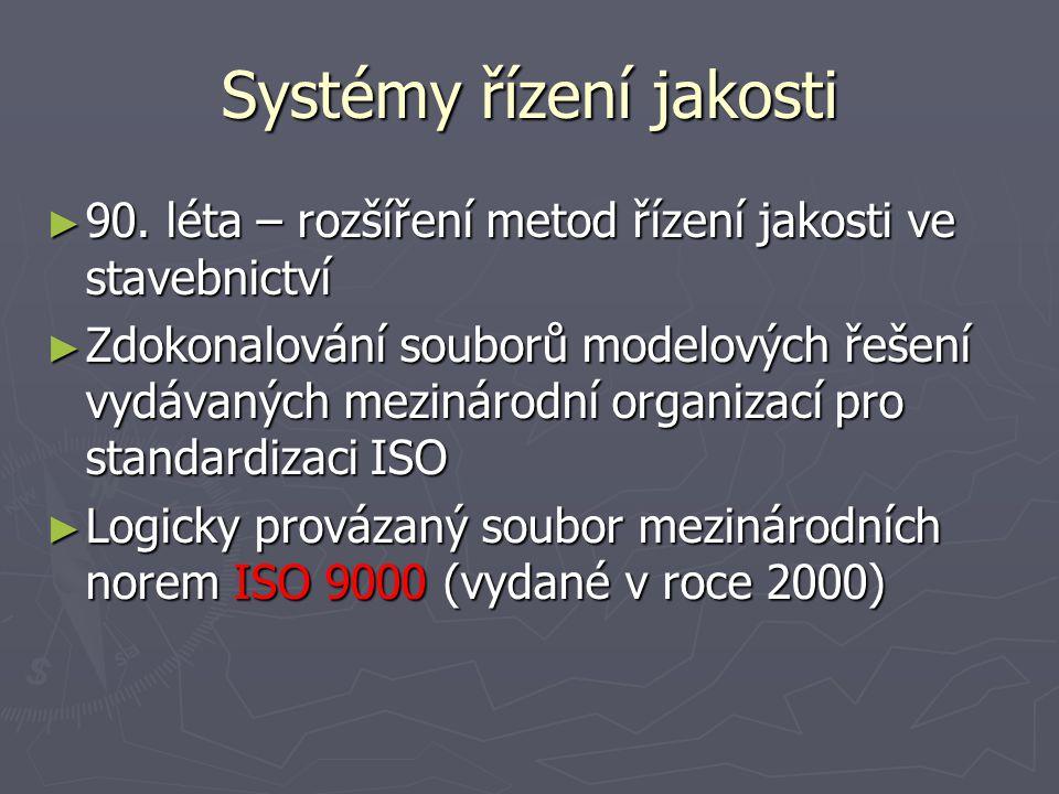 Systémy řízení jakosti základní principy metod řízení jakosti ► Dosažení kvality produktu není jednorázovou nebo časově omezenou snahou – princip systémové zpětné vazby.