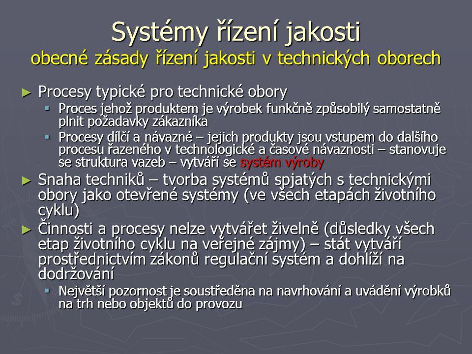 Systémy řízení jakosti obecné zásady řízení jakosti v technických oborech ► Procesy typické pro technické obory  Proces jehož produktem je výrobek funkčně způsobilý samostatně plnit požadavky zákazníka  Procesy dílčí a návazné – jejich produkty jsou vstupem do dalšího procesu řazeného v technologické a časové návaznosti – stanovuje se struktura vazeb – vytváří se systém výroby ► Snaha techniků – tvorba systémů spjatých s technickými obory jako otevřené systémy (ve všech etapách životního cyklu) ► Činnosti a procesy nelze vytvářet živelně (důsledky všech etap životního cyklu na veřejné zájmy) – stát vytváří prostřednictvím zákonů regulační systém a dohlíží na dodržování  Největší pozornost je soustředěna na navrhování a uvádění výrobků na trh nebo objektů do provozu