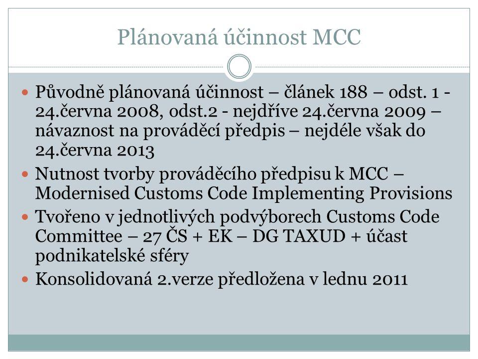Plánovaná účinnost MCC Původně plánovaná účinnost – článek 188 – odst. 1 - 24.června 2008, odst.2 - nejdříve 24.června 2009 – návaznost na prováděcí p
