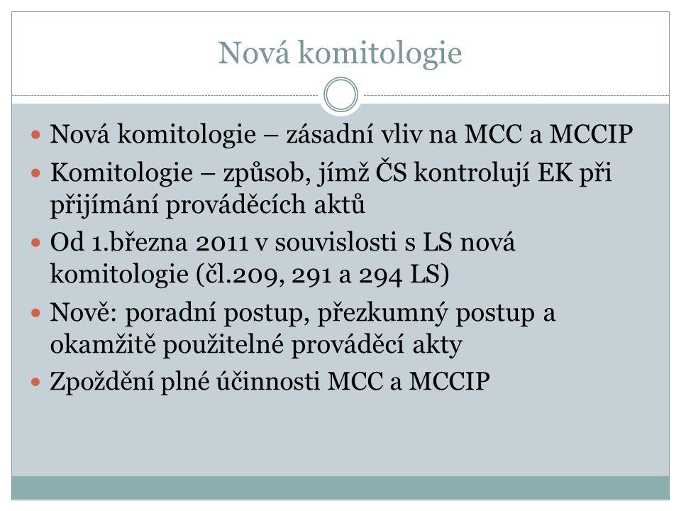 Nová komitologie Nová komitologie – zásadní vliv na MCC a MCCIP Komitologie – způsob, jímž ČS kontrolují EK při přijímání prováděcích aktů Od 1.března