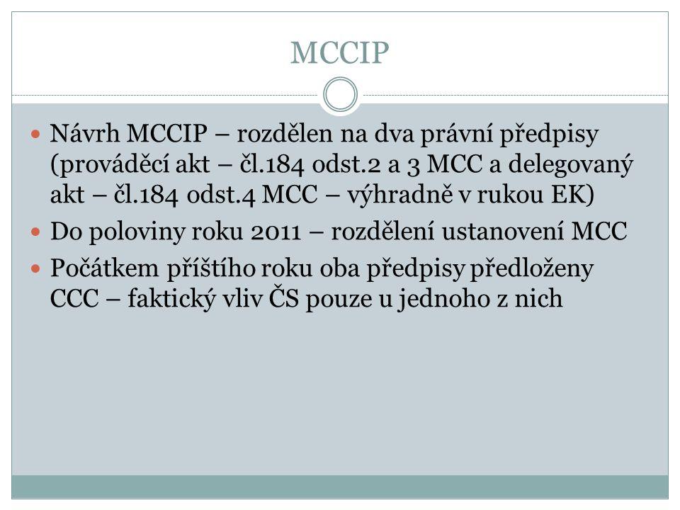 MCCIP Návrh MCCIP – rozdělen na dva právní předpisy (prováděcí akt – čl.184 odst.2 a 3 MCC a delegovaný akt – čl.184 odst.4 MCC – výhradně v rukou EK)