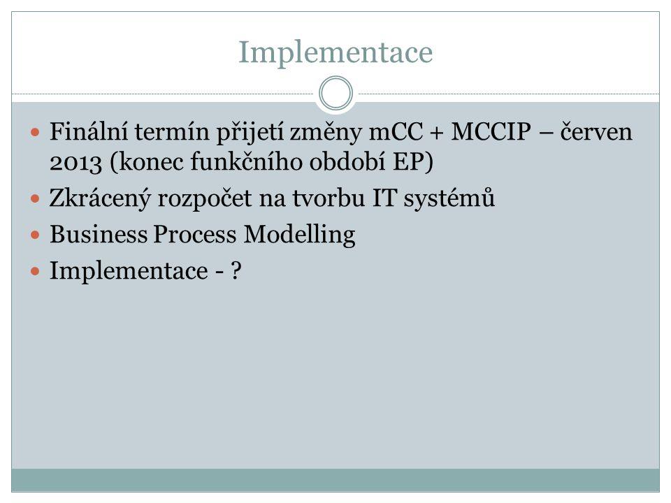 Implementace Finální termín přijetí změny mCC + MCCIP – červen 2013 (konec funkčního období EP) Zkrácený rozpočet na tvorbu IT systémů Business Proces