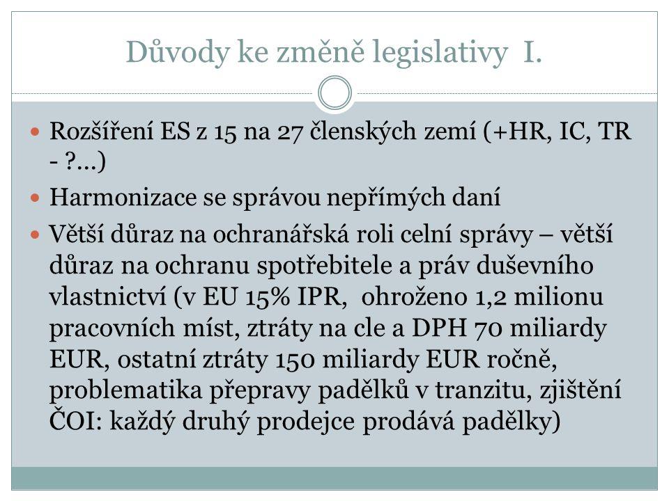 Důvody ke změně legislativy I. Rozšíření ES z 15 na 27 členských zemí (+HR, IC, TR - ?...) Harmonizace se správou nepřímých daní Větší důraz na ochran