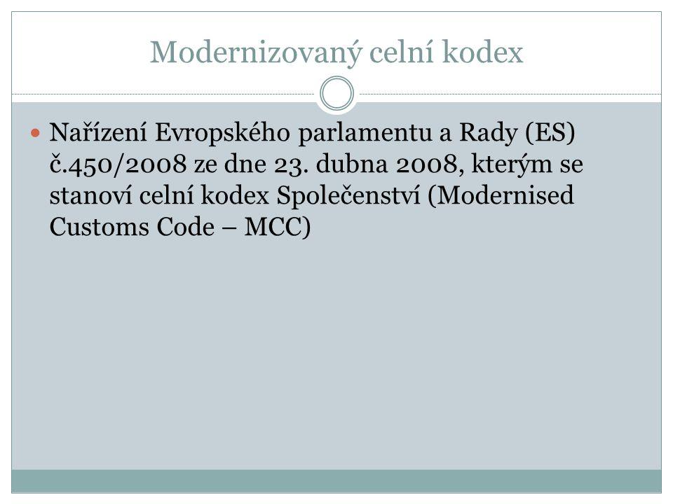 Modernizovaný celní kodex Nařízení Evropského parlamentu a Rady (ES) č.450/2008 ze dne 23. dubna 2008, kterým se stanoví celní kodex Společenství (Mod