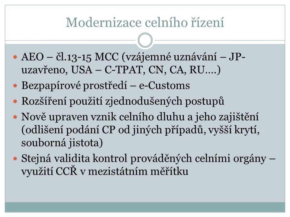 Modernizace celního řízení AEO – čl.13-15 MCC (vzájemné uznávání – JP- uzavřeno, USA – C-TPAT, CN, CA, RU….) Bezpapírové prostředí – e-Customs Rozšíře
