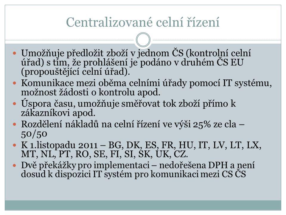 Centralizované celní řízení Umožňuje předložit zboží v jednom ČS (kontrolní celní úřad) s tím, že prohlášení je podáno v druhém ČS EU (propouštějící c