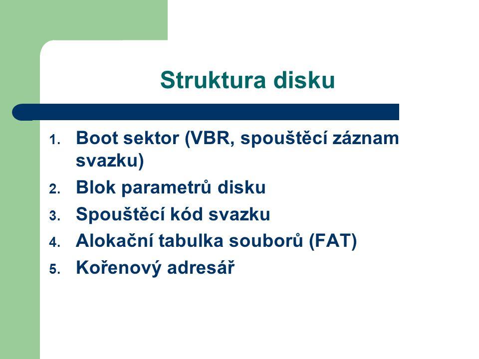 Struktura disku 1. Boot sektor (VBR, spouštěcí záznam svazku) 2. Blok parametrů disku 3. Spouštěcí kód svazku 4. Alokační tabulka souborů (FAT) 5. Koř
