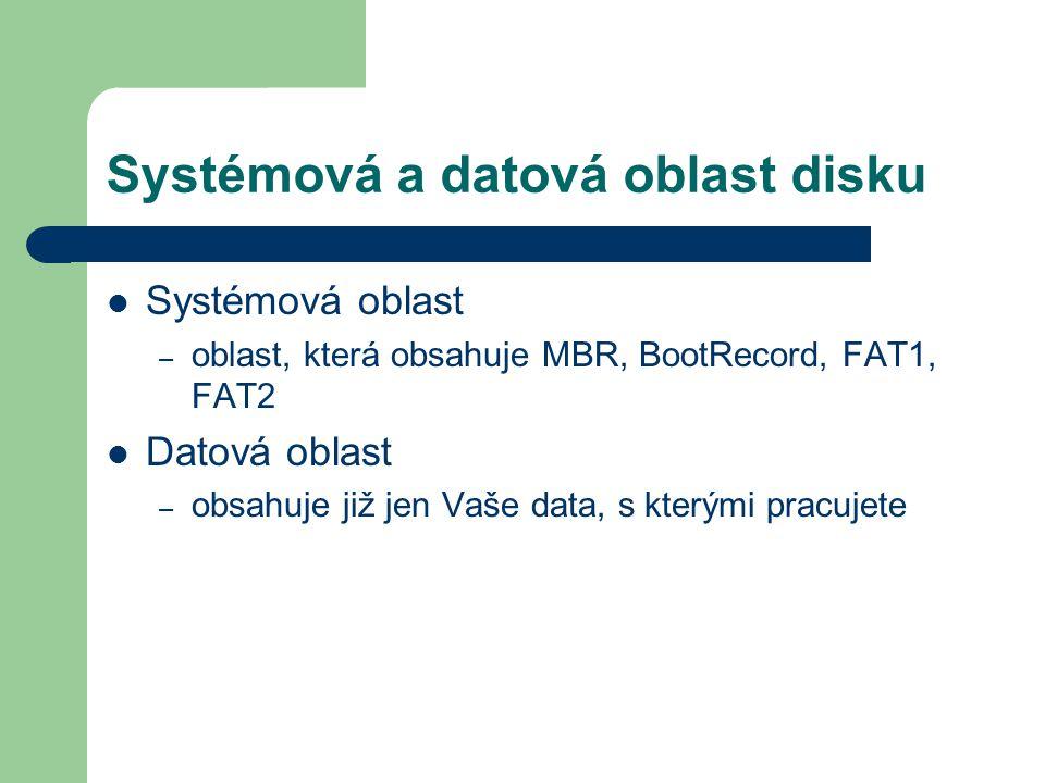 Systémová a datová oblast disku Systémová oblast – oblast, která obsahuje MBR, BootRecord, FAT1, FAT2 Datová oblast – obsahuje již jen Vaše data, s kt
