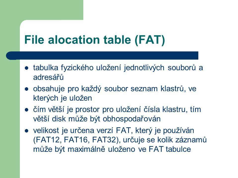 File alocation table (FAT) tabulka fyzického uložení jednotlivých souborů a adresářů obsahuje pro každý soubor seznam klastrů, ve kterých je uložen čí