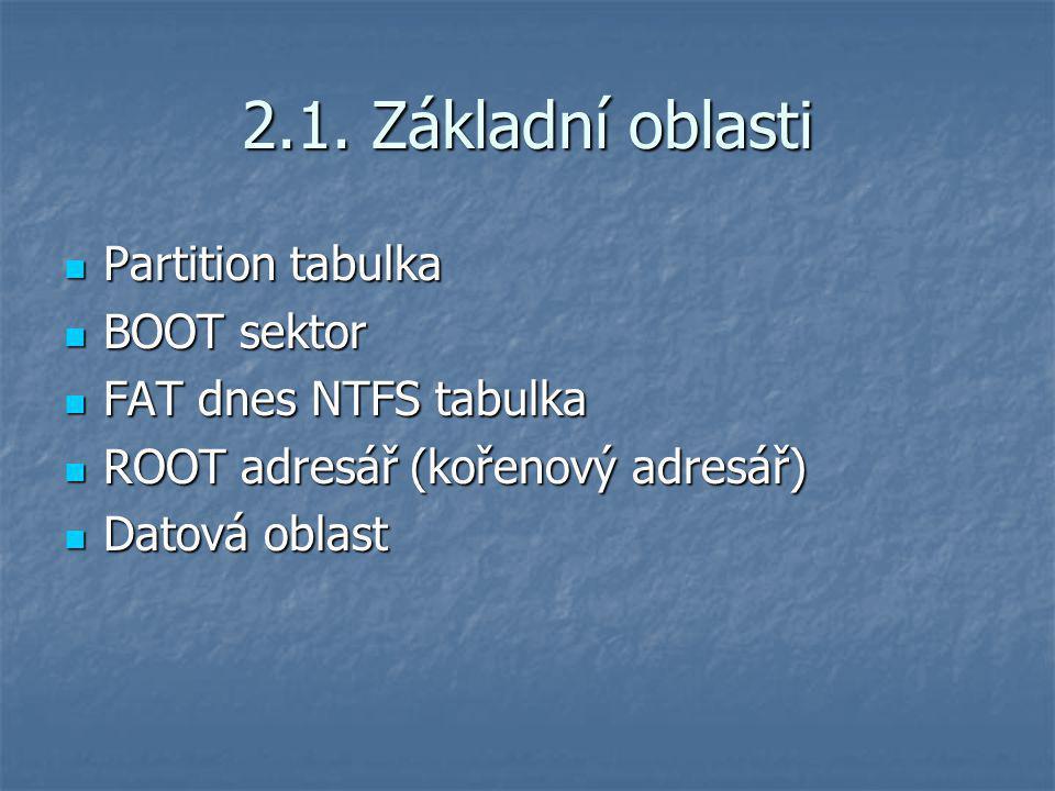 2.1. Základní oblasti Partition tabulka Partition tabulka BOOT sektor BOOT sektor FAT dnes NTFS tabulka FAT dnes NTFS tabulka ROOT adresář (kořenový a
