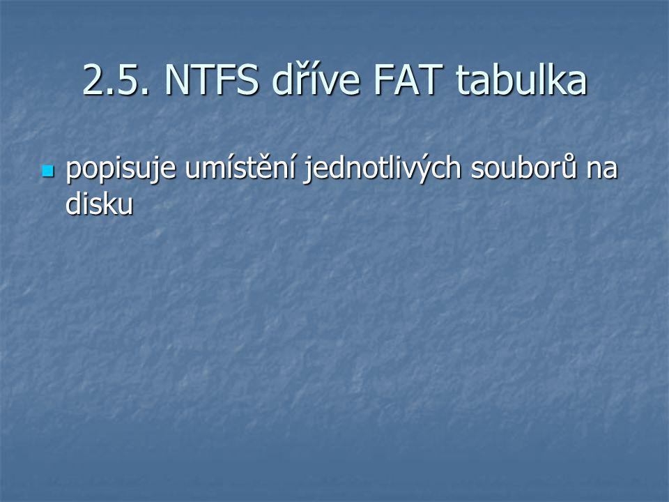 2.5. NTFS dříve FAT tabulka popisuje umístění jednotlivých souborů na disku popisuje umístění jednotlivých souborů na disku